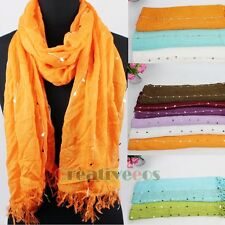 Women Cotton Sequins Fringe Edge Scarf Shawl Beach Wrap Many Pretty Solid Color