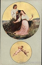 Months J. Manes May-Couple Gathering Flowers and Cherubs Kissing F. J. Jedlicka