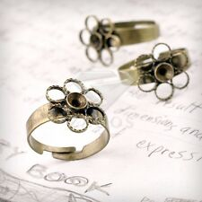 5/10pcs New Flower Ring Mountings Engagement Settings Antique Brass 4 Sizes