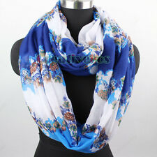 Women Fashion Row Flower Color Block Print Infinity Loop Cowl Circle Voile Scarf