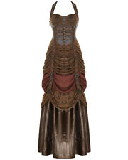 Punk Rave Steampunk Dress Long Brown Lace VTG Victorian Faux Leather Wedding