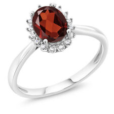 10K White Gold 1.20 Ct Oval Red Garnet Engagement Ring with Diamonds