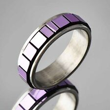 Unique Design stainles steel ring size 6 7 8 purple Cubic Zircon band Retro ring