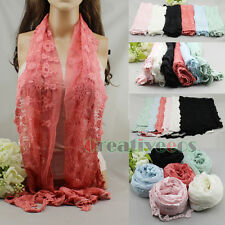 Women Vintage Floral Nets Lace Mantilla Handmade Crochet Trim Long Scarf Shawl
