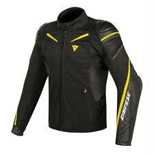 Dainese Street Master Mens Leather/Textile Motorcycle Jacket Black/Fluo Yellow