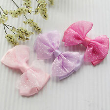 20pcs Organza Ribbon Flowers Bows w/ Mini Dots DIY/Wedding/Applique Craft
