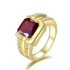 Men's Jewelry Red Garnet Halo18K Gold Filled Fashion Anniversary Rings Size 8-11