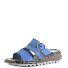 Womens Fly London Thea Smurf Blue Leather Slip On Wedge Sandals Size