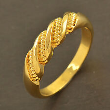 Fashion Womens Classic 9K Gold Plated EMBOSSED Mens Unisex Ring size 7 8 9 10