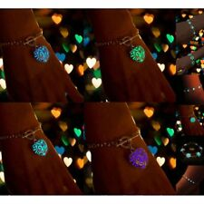Glow in The Dark Women's Heart Pendant Bracelet Bangle Chains Jewelry Gift New