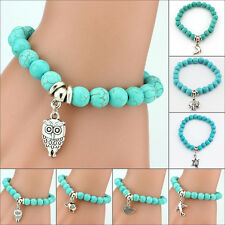 Hot Girls Tibetan Silver Stretch Beaded Turquoise Bracelet Bohemia Lucky Gifts