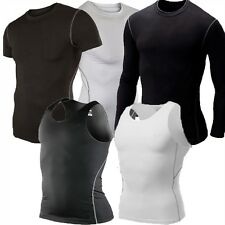 Mens Sport Compression Workout T-Shirt Athletic Short Sleeve Black/White S-XL US