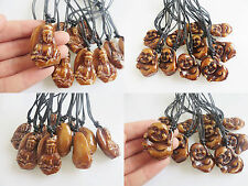 12pcs Lots Brown Carved Buddha Guanyin Faux Yak Bone Resin Pendant Necklace