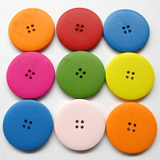 10/40/200pcs 45mm Wood Round Button Sewing Buttons Craft Doll Kid Appliques