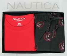 Nautica pajama set mens 2 piece short sleeve tee and flannel pants size M NEW