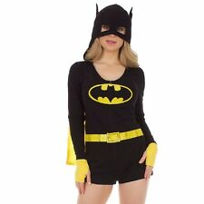 Batman Symbol Hooded Romper Offically Licensed DC Comics Pajama Sleepwear S-XL