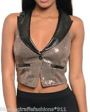 Taupe Sequin w/ Black 'Pleather' Faux Leather Sleeveless Vest