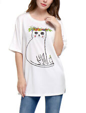 Women Cat Floral Prints 1/2 Batwing Sleeves Loose Tunic Top