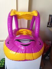 INFLATABLE BABY FLOAT SEAT BOAT BEACH CAR SUN SHADE WATER SWIMMING POOL CAR PINK