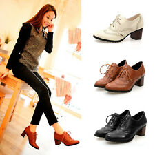 Women Elegent Lace Up Oxfords Retro Mid Chunky Heel Wing Tip Brogue Casual Shoes