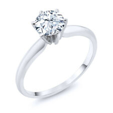 1.20 Ct Hearts And Arrows White Created Sapphire 14K White Gold Solitaire Ring