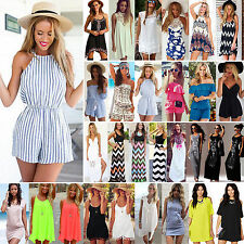 Summer Womens Mini Playsuit Dress Jumpsuits Shorts Beach Sundress Holiday Suit