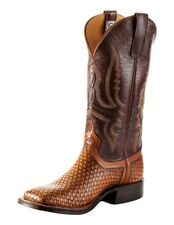 Anderson Bean Western Mens Boots Tooled Pull On Wheat Basket S3009