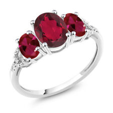 Diamond Accent 10k White Gold 2.35 Ct Red Mystic Topaz Red Created Ruby Ring