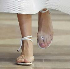 Womens Lace Up Clear Sandal Ankle Strap Roma Transparent Open Toe Flat Shoes Hot
