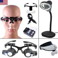 Headband LED Lamp Light Jeweler Head Magnifier Magnifying Glass Loupe & Lens NEW