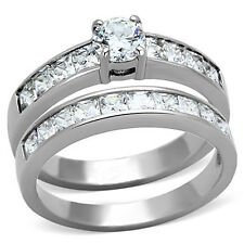 $ SALE $ Stainless Steel Cz Brilliant Princess Cut Engagement Wedding Ring Set
