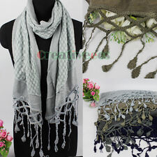 Vintage Dot Lace Long Tassel Stitching Wool Knit Shawl Long Scarf Shawl Wrap New