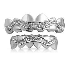Platinum Wavy Iced Out Teeth Grillz Combo Highest Quality