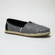TOMS Classic Black Woven Rope Sole Loafers
