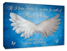 Angel Wings Wall Picture 'IF I Listen Closely..Quote Canvas Print Blue Angel Art