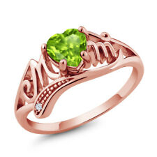 0.84 Ct Heart Shape Green Peridot White Topaz 18K Rose Gold Plated Silver Ring