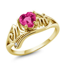 Pink Created Sapphire White Created Sapphire 18K Yellow Gold Plated Silver Ring