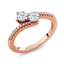 0.90 Ct Round White Topaz Two Stone 18K Rose Gold Plated Silver Ring