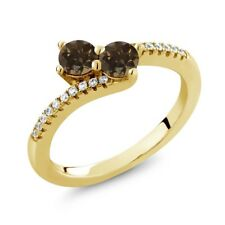 0.76 Ct Round Brown Smoky Quartz Two Stone 18K Yellow Gold Plated Silver Ring