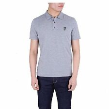 VERSACE Collection Men's Heather Gray Medusa Logo Polo Golf Short Sleeve T-Shirt
