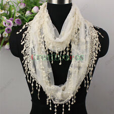 New Casual Fashion Women's Flower Lace Trim Tassel Infinity Loop Cowl Scarf