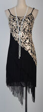 Black-gold 1920's Flapper Gatsby Strap Sequin Fringe Dress S-6XL Charleston 3226