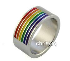 Rainbow Enamel Multicolor Silver Stainless Steel Ring Gay Pride Size 10 11 12