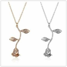 Silver/Rose Gold Rose Flower Leaf Pendant Long Necklace Women Lover Gift Jewelry