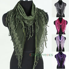 Elegent Embroidery Flower Lace Stitching Plaid Cotton With Tassel Triangle Scarf