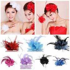 1Pc Beauty Flower Feather Brooch Brides Wedding Headdress Hair Clip Bracelet DIY