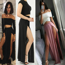 WOMENS LADIES ELASTICATED WAIST DOUBLE SPLIT SLIT LONG STRETCH SLINKY MAXI SKIRT