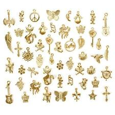 50Pcs/Set Gold Plated Mixed Cute Charm Pendants DIY Jewelry Craft Findings