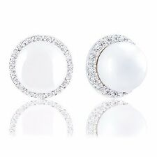 18k Gold Plated Round Simulated Shell Pearl with Cubic Zirconia Halo Earrings