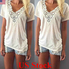 US STOCK Women Summer V Neck Lace Short Sleeve T-Shirt Ladies Tops Casual Blouse